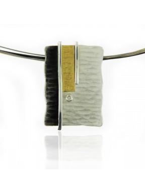 Collar AUDAR de plata, oro y brillante