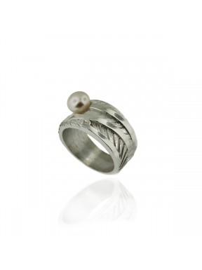 Anell AUDAR de plata amb una perla i brillant