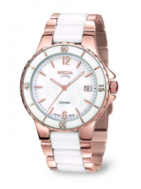 Reloj de Titanio, Ceramica Blanca y Oro Rosa Antialergico