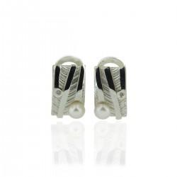 Pendientes de Plata Perla y Diamante AUDAR