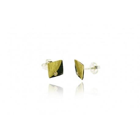 Pendiente de Plata Oro y Diamante Colección DOBLE FULLA