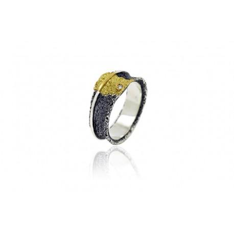 Anillo de Plata Oro y Diamante Colección OSHA