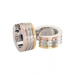 Pendientes de Titanio Antialérgicos Tricolor y Diamantes 0592-03