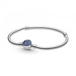 Pulsera Pandora Moments Cierre Disco azul Brillante