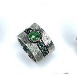 Anillo Plata de Ley Top Silver Verde Banda