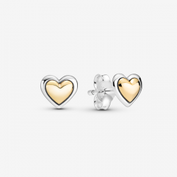 Pendientes de Botón Pandora Corazón de Centro Dorado