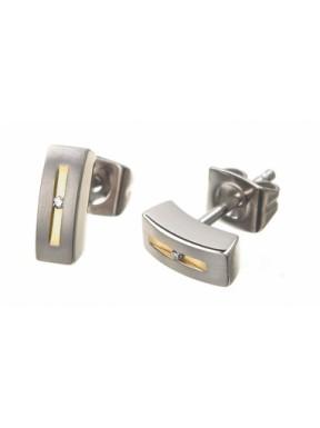 Pendientes de Titanio Antialergicos y Oro con Diamantes